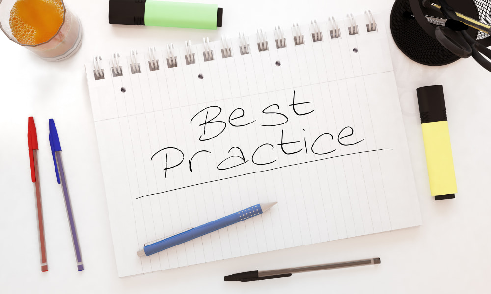 best practice written on a note pad